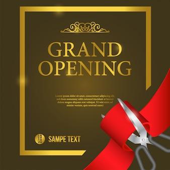 Evento di poster di inaugurazione con taglio del nastro rosso