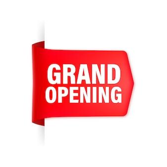Nastro rosso di inaugurazione in stile 3d.
