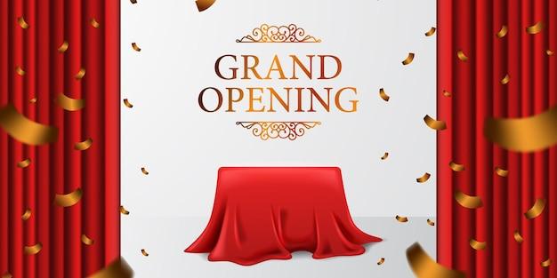 Grand opening royal elegante sorpresa con tenda in tessuto di raso e scatola di copertura e coriandoli dorati con sfondo bianco