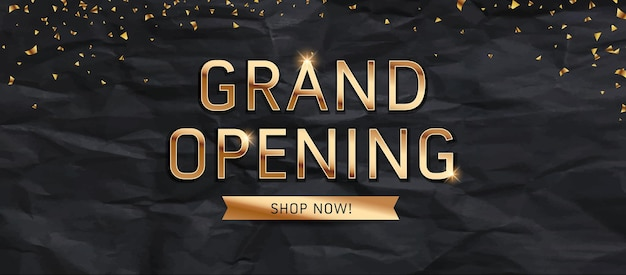 Grande apertura vendita oro messaggio di testo design su sfondo nero