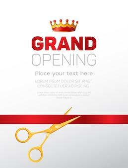 Modello di grande apertura - illustrazione vettoriale moderna con posto per il testo. forbici dorate che tagliano il nastro rosso. perfetto come certificato, poster, banner, biglietto, invito