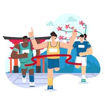 Grande apertura tokyo illustrazione piatta