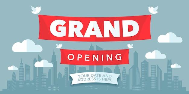 Grande inaugurazione con un moderno segno di ritaglio di carta. banner modello per la cerimonia di apertura