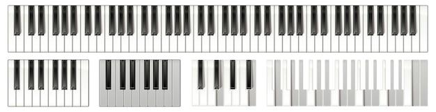 Tastiera del pianoforte a coda con 88 tasti layout dello strumento musicale