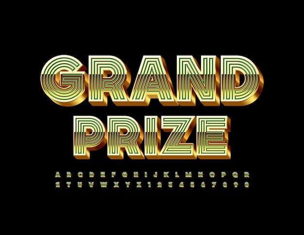 Gran premio maze style font 3d set di lettere e numeri dell'alfabeto verde e oro