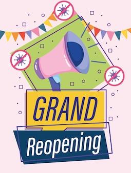 Il marketing del megafono di grande riapertura annuncia l'illustrazione di celebrazione