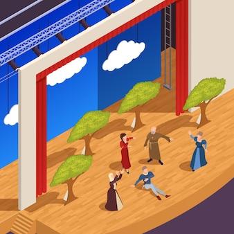 Fondo isometrico del grande teatro con l'illustrazione di simboli di prestazione di dramma