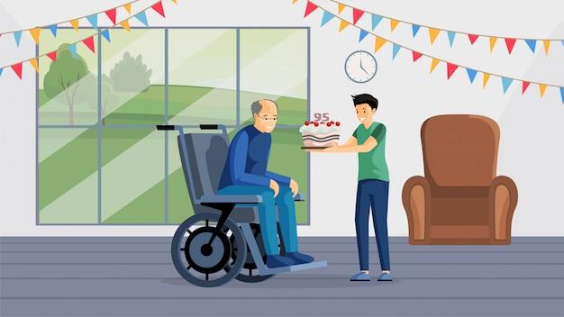 Bandiera piana di festa di compleanno del nonno. uomo invecchiato felice in sedia a rotelle e ragazzo che tiene i personaggi dei cartoni animati della torta. nipote che si congratula con il nonno per l'anniversario, l'assistenza agli anziani