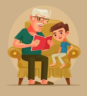 Il personaggio del nonno si siede con il nipote e legge la storia del libro. cartone animato