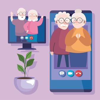 Coppia di nonno e nonna in videochiamata