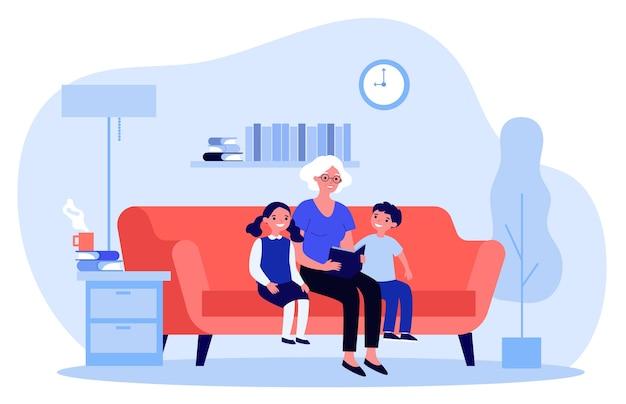 Nonna che legge favole ai bambini