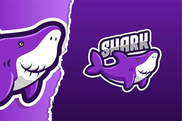 Modello di logo del gioco mascotte della nonna squalo