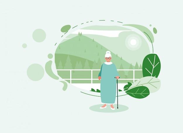 Donna anziana dell'avatar della nonna davanti ai pini
