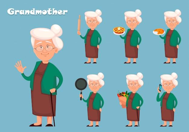 Personaggio dei cartoni animati della nonna, set di sette pose Vettore Premium