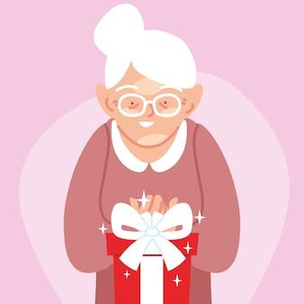 Regalo di apertura del fumetto della nonna, illustrazione di tema festiva e sorpresa della festa della decorazione di celebrazione di buon compleanno