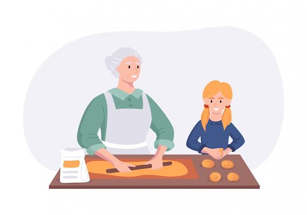 La nonna e la nipote si accoppiano cucinando la cena alla tavola nella cucina. concetto del personaggio dei cartoni animati che prepara i pasti a casa nello stile piano. illustrazione