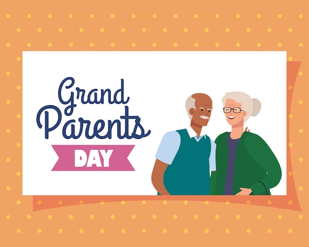 Nonna e nonno sulla progettazione di vettore di giorno dei nonni
