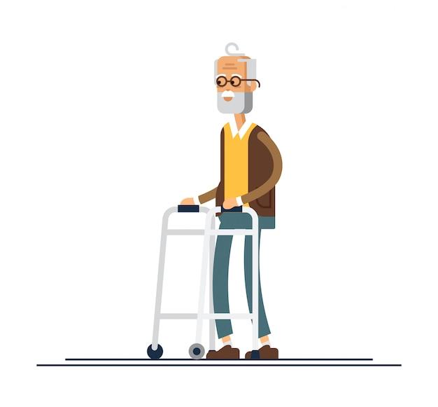 Nonno che cammina con un camminatore. illustrazione in uno stile