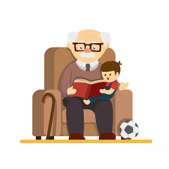 Giorno dei nonni, nonno seduto sul divano e leggendo il libro di storia ai nipoti. nell'illustrazione piana del fumetto isolata nel fondo bianco