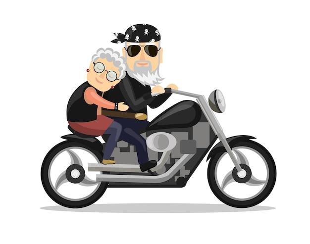 Motociclista dei nonni in sella a una motocicletta. illustrazione isolata in uno stile piatto.