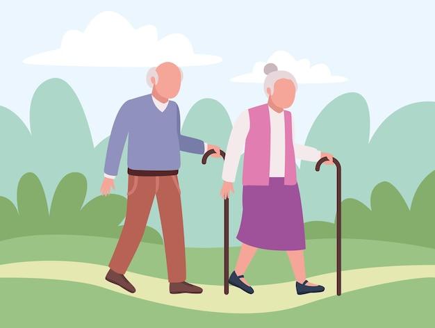 Coppia di nonni nel campo
