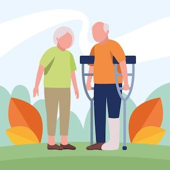 Coppia di nonni in piedi