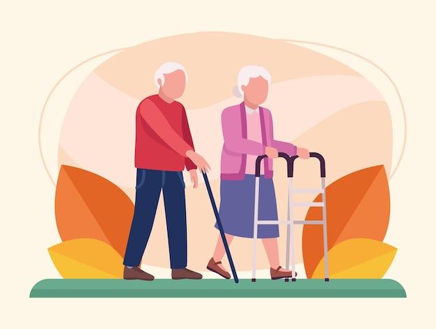 Coppia di nonni a piedi