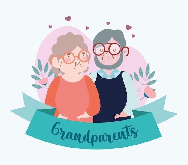 Coppia di nonni con fiori
