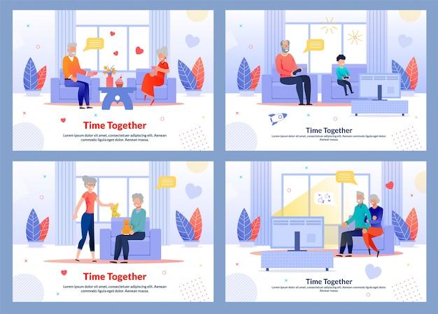 Insieme del piano dell'insegna di riposo dei nonni a casa insieme