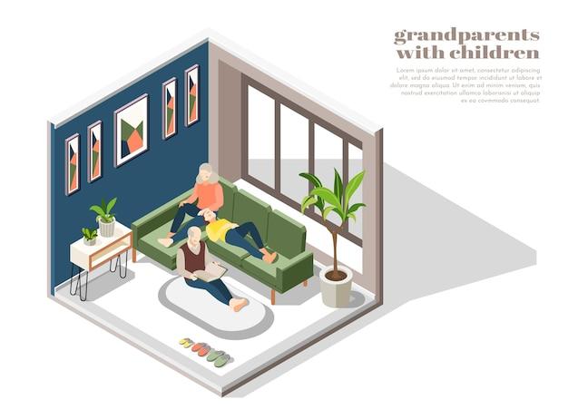 Nonni con bambini all'interno di casa con nonna nonno e nipote lettura libro insieme isometrica
