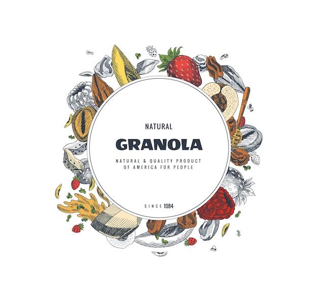 Modello di progettazione di imballaggi muesli. illustrazione di stile inciso. varie bacche, frutta e noci.