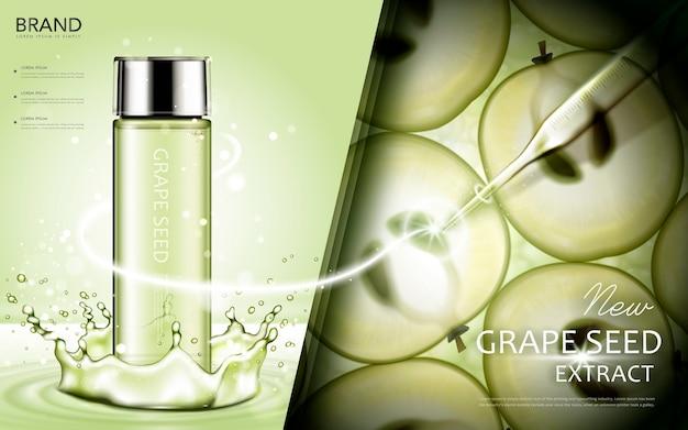 Annunci cosmetici di estratto di semi d'uva, contenitore verde con ingredienti e spruzzi d'acqua nell'illustrazione 3d