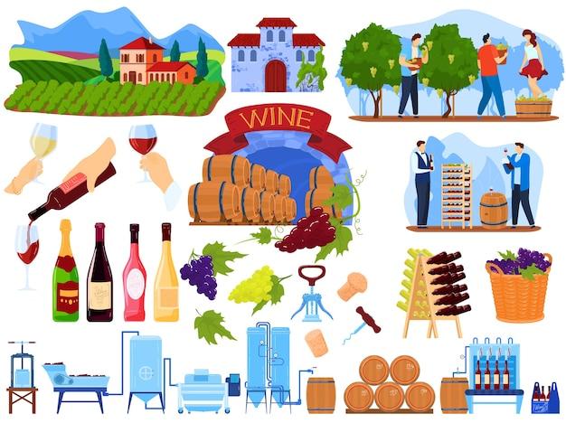 Processo del prodotto del vino dell'uva nel set di illustrazione vettoriale di fabbrica raccolta di produzione di vinificazione piatto del fumetto con persone che raccolgono nel vigneto dell'azienda agricola