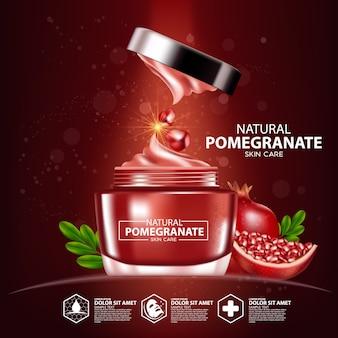 Modello di confezionamento cosmetico per la cura della pelle naturale di agrumi di pompelmo Vettore Premium