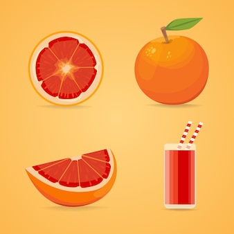 Poster di frutti di pompelmo in stile cartone animato raffigurante intero e metà di agrumi freschi e succosi isolati su sfondo bianco inclusa l'illustrazione della didascalia.