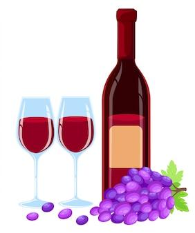 Brunch di uva con foglie, bicchiere di vino e bottiglia di illustartion di vino rosso. modello in eps10.