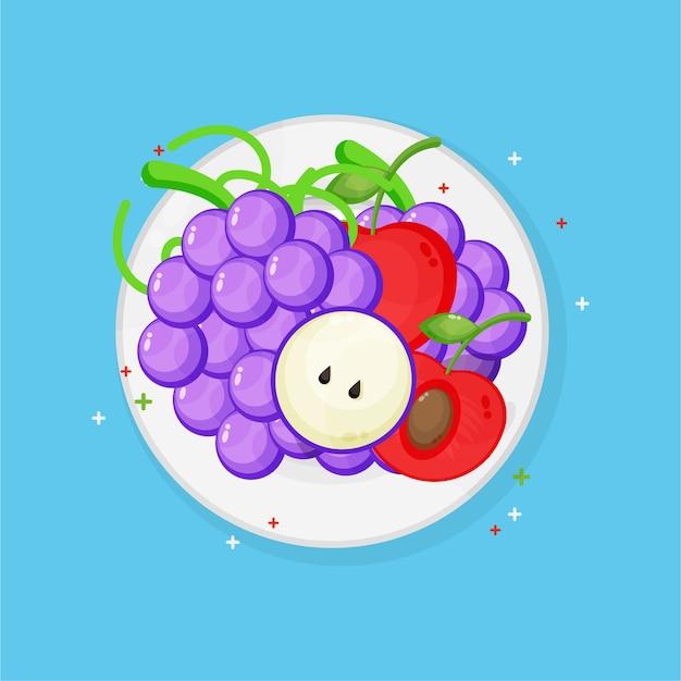 Uva e ciliegie su un piatto