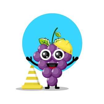Mascotte simpatico personaggio operaio edile uva