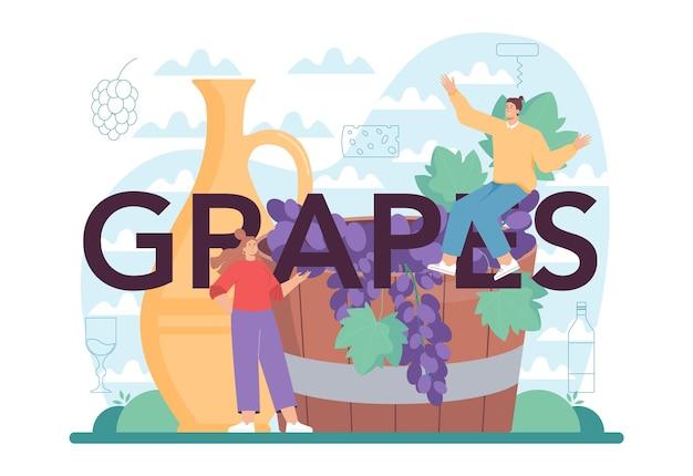 Intestazione tipografica dell'uva. vino in bottiglia e bicchiere pieno di bevanda alcolica. vino rosso con antipasto. illustrazione vettoriale isolato