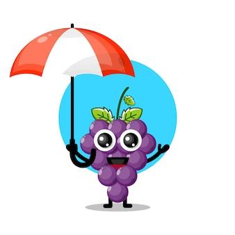 Uva ombrello simpatico personaggio mascotte