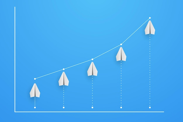 Grafico e diagramma dagli aerei con l'illustrazione di crescita di aumento