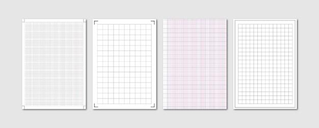 Quaderno di quaderno con foglio di carta a griglia grafica