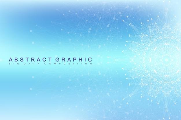 Comunicazione grafica di sfondo astratto. visualizzazione di grandi dati. fondale prospettico con linee e punti collegati. rete sociale. illusione di profondità. illustrazione vettoriale.