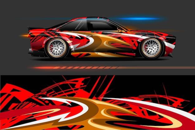 Motivi grafici a strisce astratte per auto in livrea di branding e drift