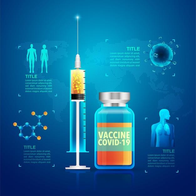 Grafico di infografica vaccino covid-19, siringa realistica e bottiglia di vaccino con elemento medico