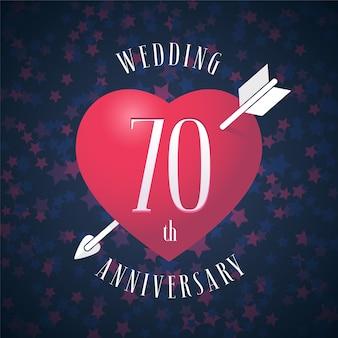 Elemento di design grafico con cuore di colore rosso e freccia per la decorazione per il 70 ° anniversario di matrimonio