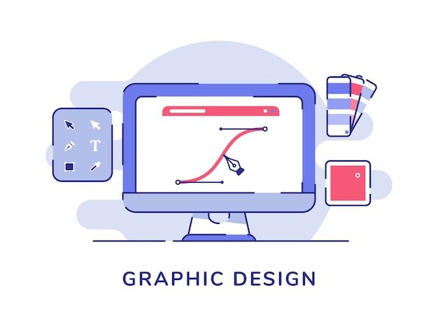 Strumento penna di progettazione grafica che disegna la linea della curva sul computer di visualizzazione