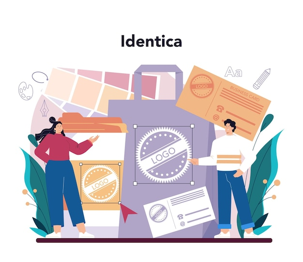 Concetto di grafico. artista digitale che crea design del marchio, identità aziendale e illustrazione pubblicitaria con apparecchiature elettroniche. sviluppo banner web. piatto illustrazione vettoriale