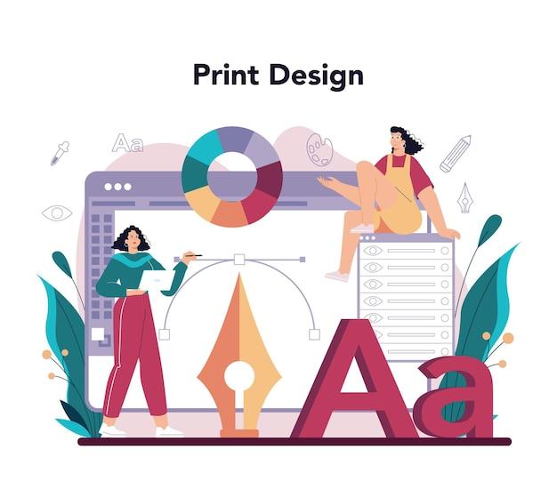 Artista digitale di concetto di graphic designer che crea design del marchio