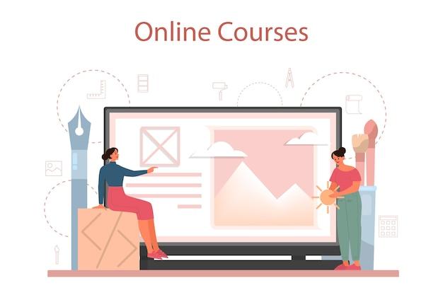 Piattaforma o servizio online di graphic designer o illustratore digitale